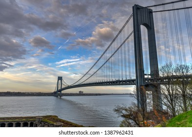 View of the Verrazano Narrows Bridge from Staten Island onto Brooklyn and Manhattan in New York City.