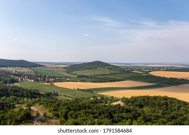 View of the Vertes mountains on a summer day in Hungary from the look-out tower at Bence hegy on a summer day.