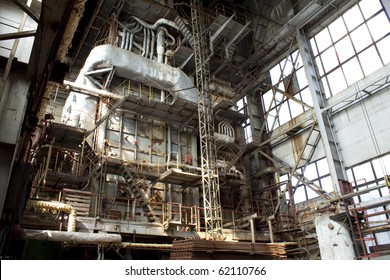 View of a very old industrial building interior