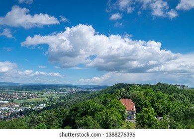 View from Veste Coburg in the direction of Hildburghausen in the Thuringian Forest