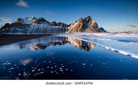 view of Vestrahorn mountain in Stokksnes, Iceland.