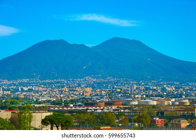 View of Vesuvius mountain and Naples city on a base. Italy