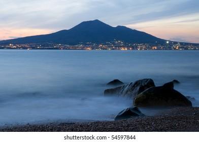 View of Vesuvius at sunset
