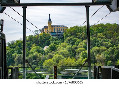 A view of Vetruse castle in Usti nad Labem (Czechia) from the cable car platform