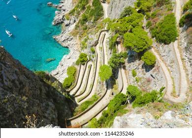 View of Via Krupp from Gardens of Augustus descending to Marina Piccola sea, Capri Island, Italy