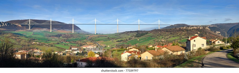 View of the Viaduct of Millau, the highest bridge in the World. Aveyron, France.