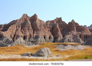 View of the vibrant red rocks at Badlands National Park