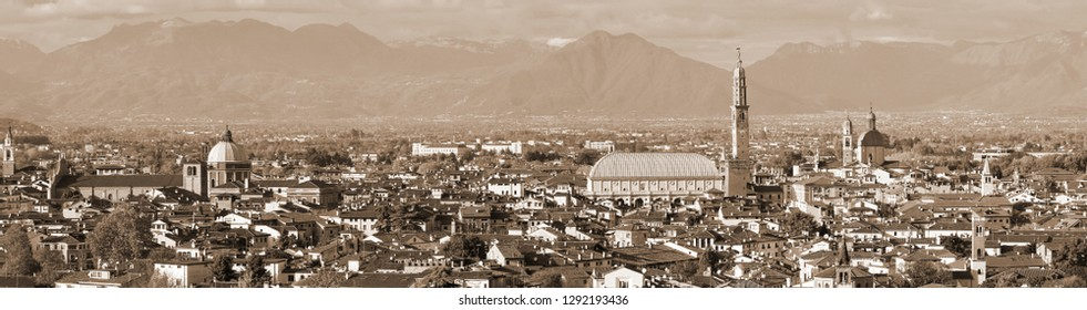 view of Vicenza City in Italy with speia toned effect and the most famous monument called Palladian Basilica