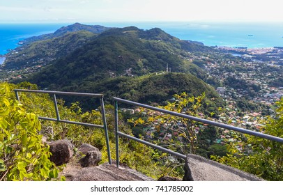 View of Victoria City. Seychelles nature. Mahe island. Dans Gallas trail