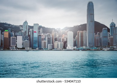 view of victoria harbor in Hong Kong,China.