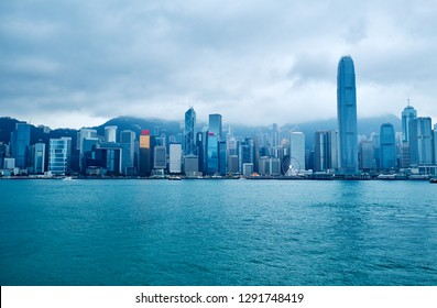 View of Victoria Harbor and skyline of Hong Kong in winter