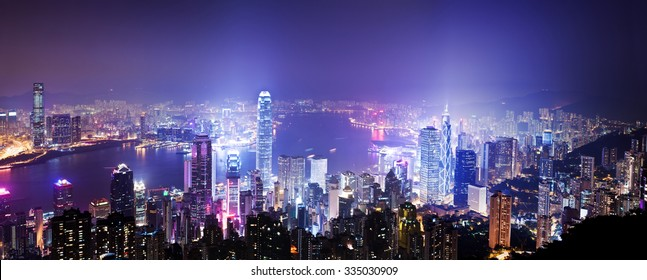 View of Victoria Harbour in Hong Kong from the Peak