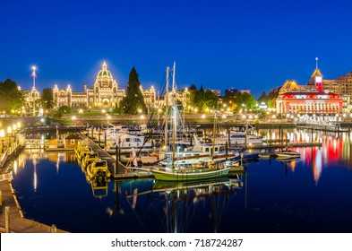 View of Victoria Inner Harbour and British Columbia Provincial Parliament Building at Night. BC, Canada.