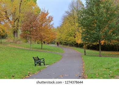 View of Victoria park in Bristol, near Bedminster in late autumn.