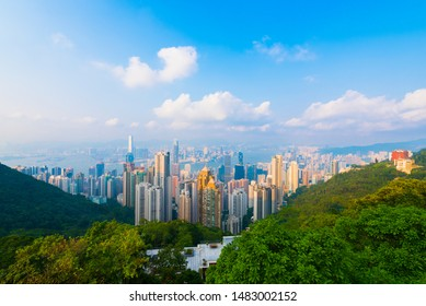 View from Victoria Peak, a mountain in the western half of Hong Kong Island. It is also known as Mount Austin, and locally as The Peak.