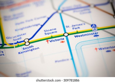 View of Victoria station on a London subway map.