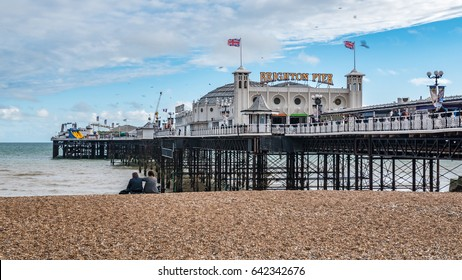 View of the Victorian Brighton Pier, also known as the Palace Pier