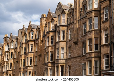 View of Victorian tenement housing in the West End of Edinburgh, Morningside.