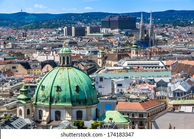 View of Vienna city from the roof, Austria