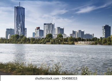 View of Vienna financial district cityscape with Danube river
