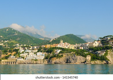 View of Vietri Sul Mare of the Amalfi coast, Italy by boat