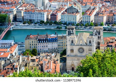 View of Vieux Lyon with the Saint Jean Cathedral and the banks of the Saone river from the Fourviere Hill. The old town of Lyon, France, is a popular tourist attraction