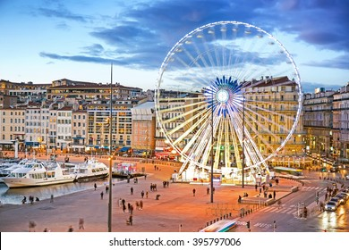 View of Vieux Port and Ferry Wheel, Marseille, Provence, France