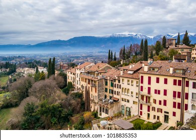 View from the viewpoint of the Specola in the Castle of Asolo. 6 January 2018 Asolo, Treviso - Italy