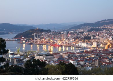 view of Vigo city in Galicia, Spain at night with illumination