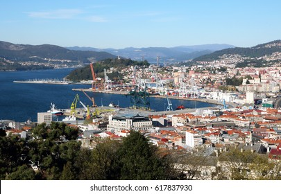 view of Vigo city in the north of Spain from the top of a hill