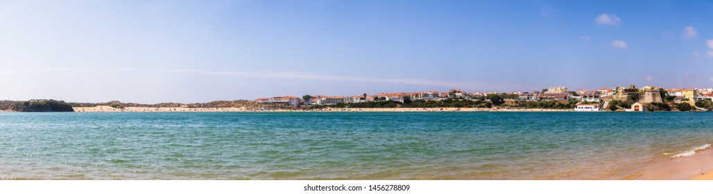 View of the Vila Nova de Mil Fontes town from the praia das Furnas beach on the other side of the Mira river