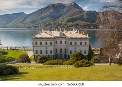 View of Villa Melzi in Bellagio and Como lake