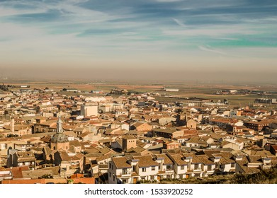 View Of The Villa On Top Of The Mountain Next To The Windmills In Consuegra. December 26, 2018. Consuegra View Of The Villa On Top Of The Mountain Next To The Windmills In Consuegra. December 26, 2018
