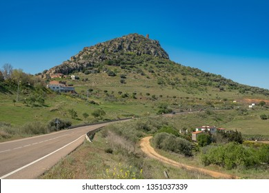 View of the village of Alange with its castle on top of the mountain, next to the marsh of the same name, locality famous for its Roman baths and located Very close to the city of Merida.