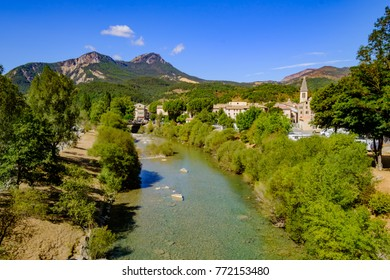 View of the village Castellane and the Verdon river in the summer. Provence, France.