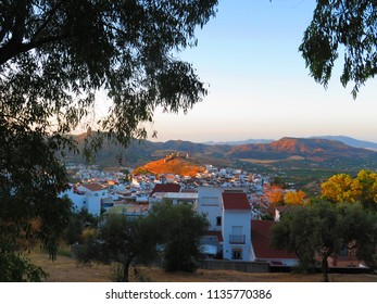 View of village and castle through leaves if eucalyptus tree in Andalusian village