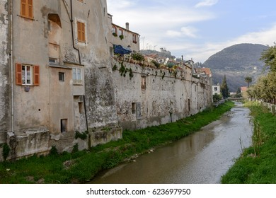 view of village fortified walls on the Aquila creek side,  shot at Finalborgo, Savona, Liguria, Italy