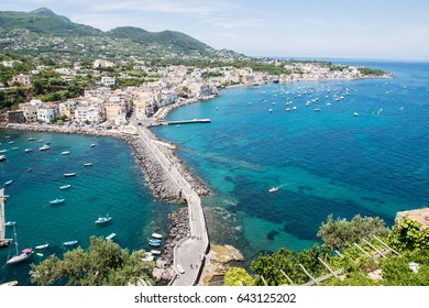 View of the village of Ischia on the island of Ischia in Italy