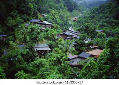 View of the village in the jungle and valley at Ban Huai Hom, An agricultural tourist attraction during the rainy and winter season in Thailand, Mae La Noi ,Mae Hong Son, thailand