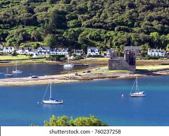 a view of the village of Lochranza and the castle,Isle of Arran,Scotland.