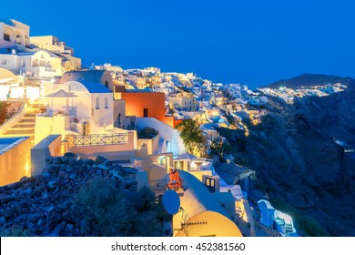 View of the village Oia at night.
