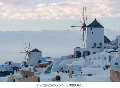 View of the village Oia on the sunset.