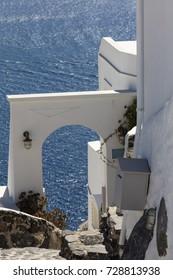 View of village Oia in Santorini, Greece.