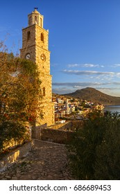 View of the village on Halki island in Greece.