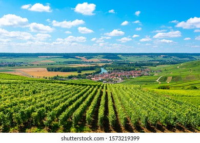 View of a village over the vineyards of Champagne, France.