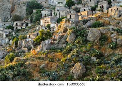 View of the village of Pentedattilo, District of Reggio Calabria, Calabria, Italy, Europe