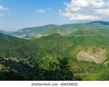 View from the village Polska skakavitsa. Located in a Zemenska mountain region of Kyustendil. Bulgaria.