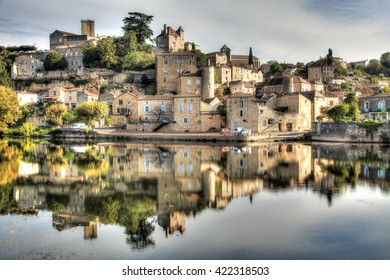 View of the village of Puy l'Eveque in the Lot - France
