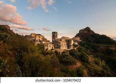 A view of the village of Savoca, Sicily, Italy. The town was the location for the scenes set in Corleone of Francis Ford Coppola's The Godfather.