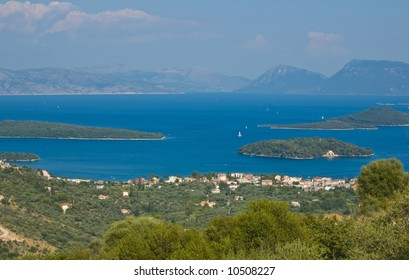 View to the village, sea in the background. Lefkas, Greece.